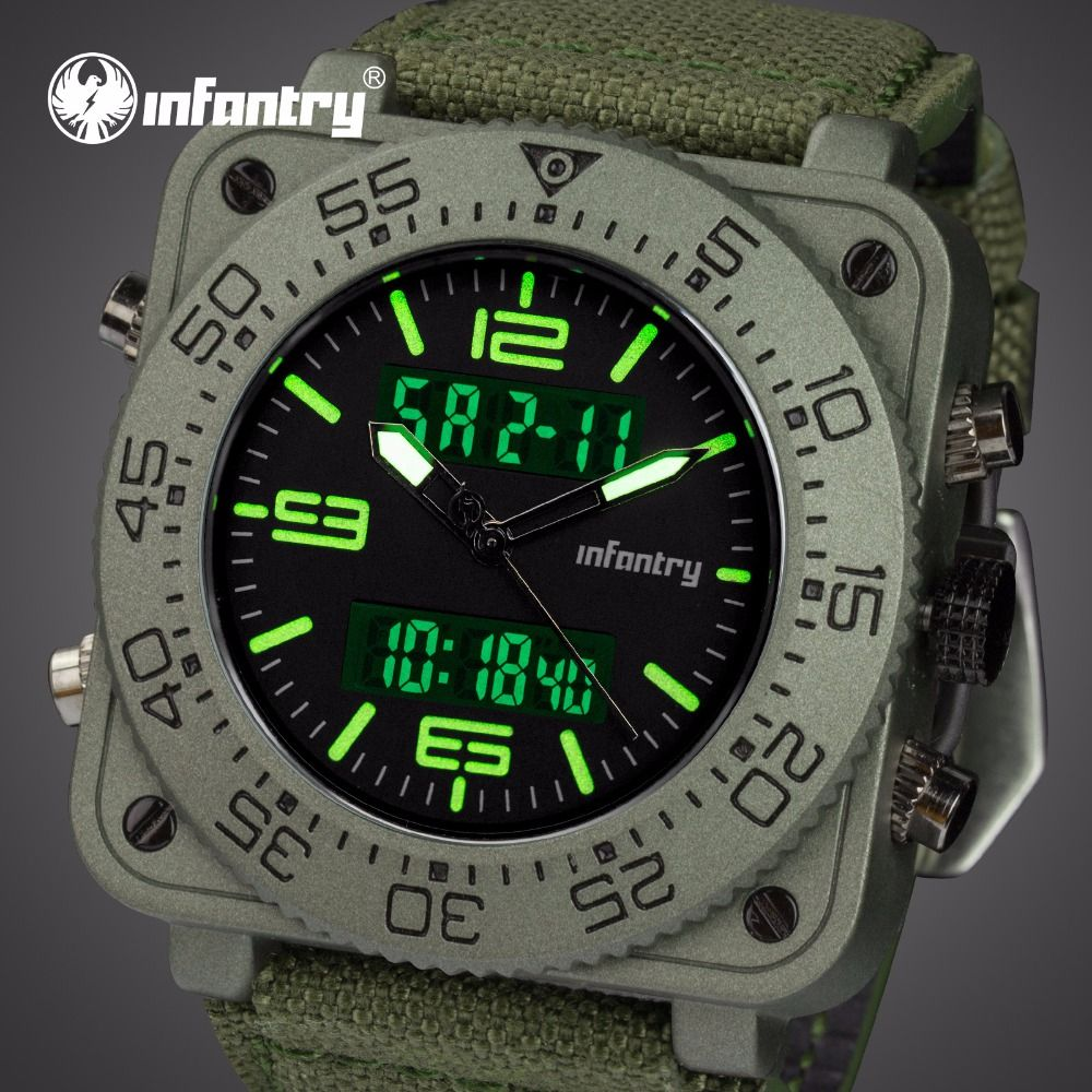 INFANTRY Mens Watches Top Brand Luxury Analog Digital Watch Men Tactical Military Watches for Men Green Sport Relogio Masculino