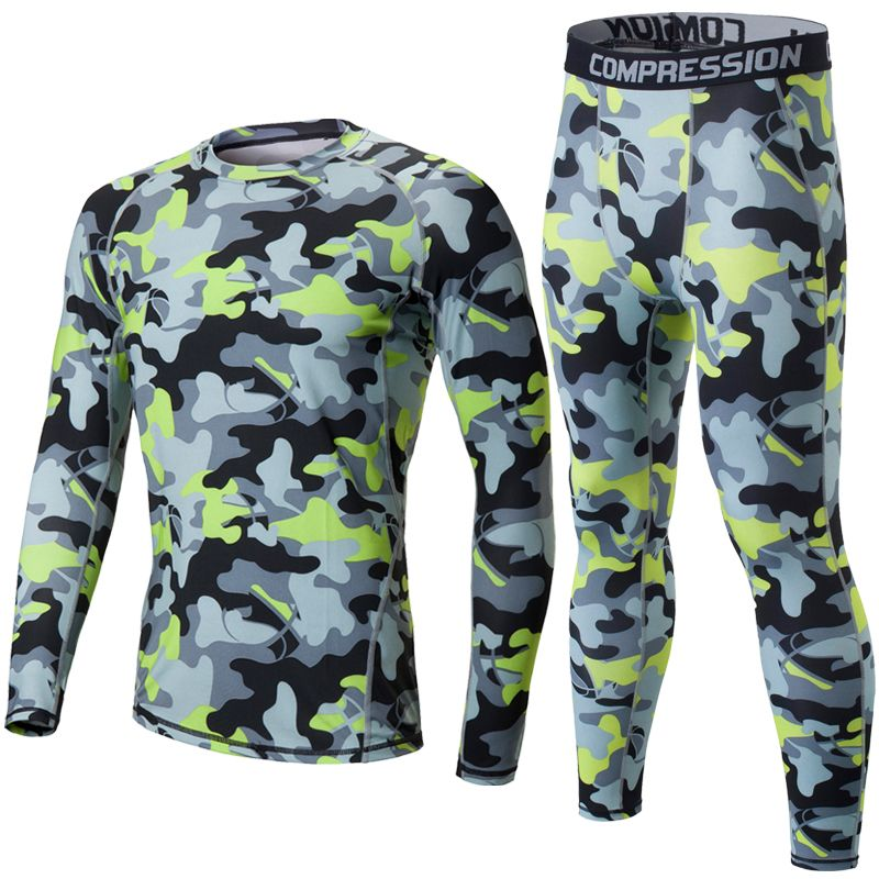 New Men Camouflage Compression Sets Long Sleeve Shirt Pants Tight Leggings Quick Dry Crossfit Gyms Training Sport Suits 2pcs/set