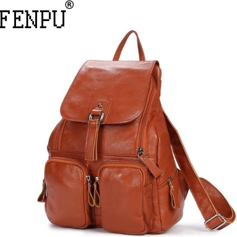 2018 Fashion Genuine Leather Men Backpack Women High Quality School Bag Female Travel Laptop For Teenagers Girls Male Backpack
