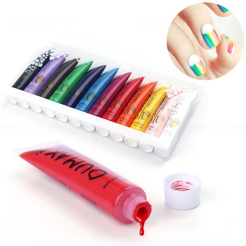 12 Colors/Set Acrylic Paint Nail Art Polish 3D Paint Decoration Nail Design UV Gel Color Tube RP1-5