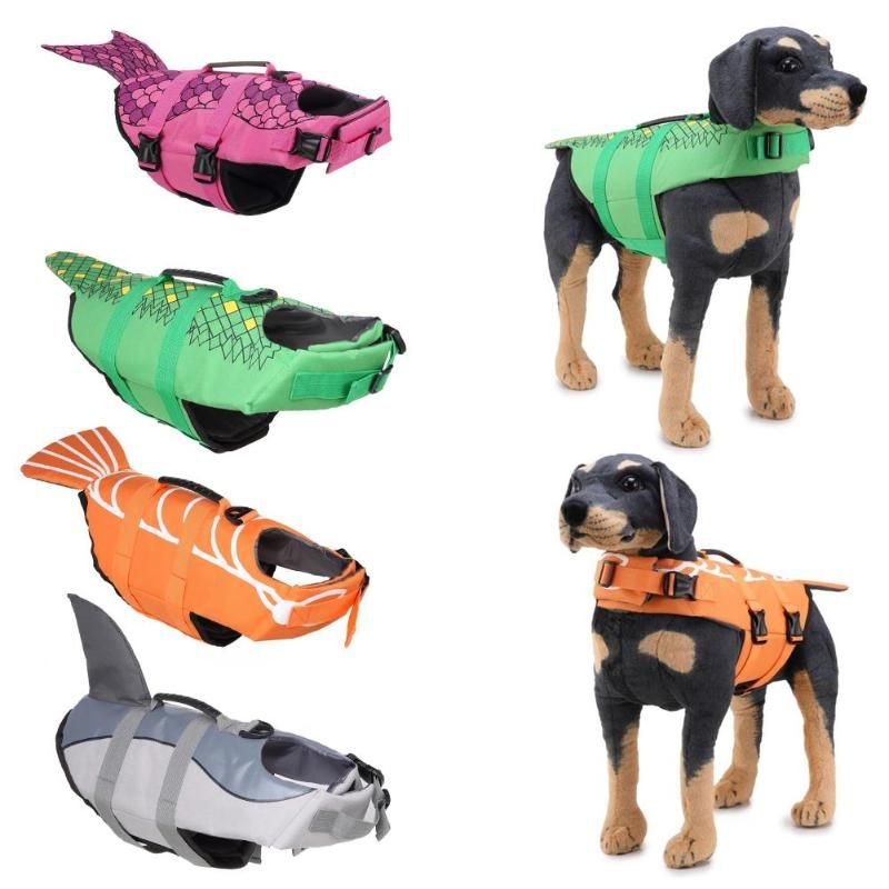 Dog Life Jacket Pet Saver Life Vest Puppy <font><b>Swimming</b></font> Preserver Fashion Mermaid Shark Shape Large Dog Clothes For Golden Retriever