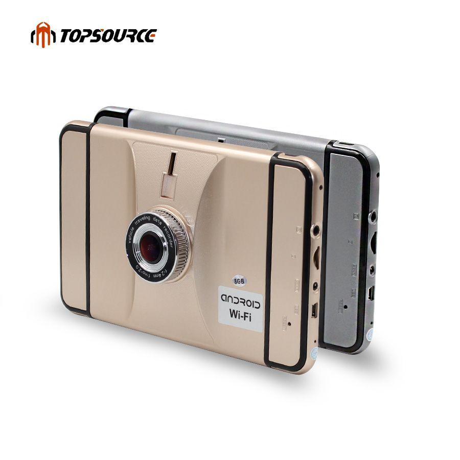 TOPSOURCE Nouveau 7 ''HD 1080 p Voiture DVR Caméra Enregistreur De Voiture GPS Navigation Android 4.4 Quad-core Camion véhicule gps navigator Voiture dvr