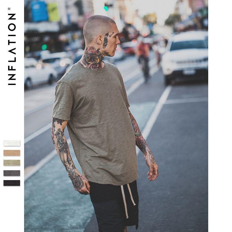 Инфляции 2017 Лето новый стиль Мужская твердого Расширенный удлиненная плотная футболка хлопок, бамбук