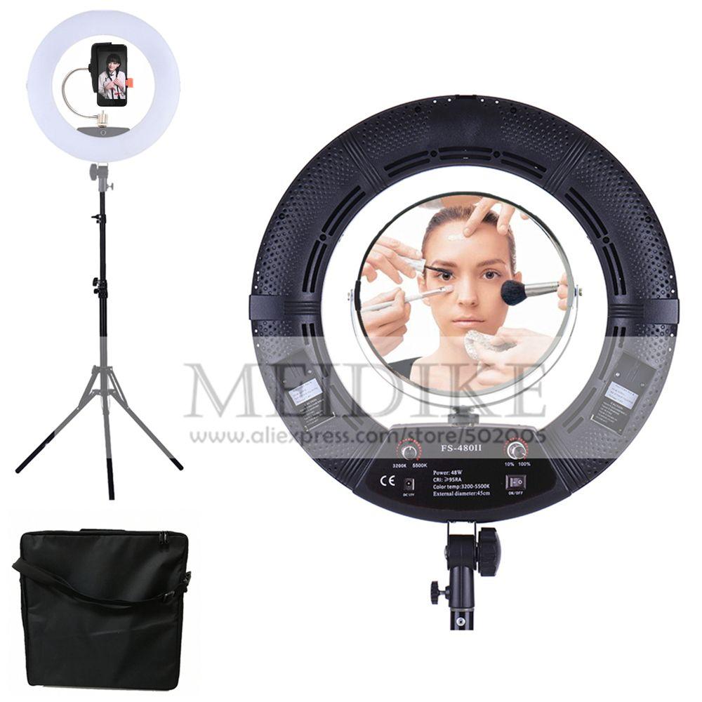 Yidoblo black FS-480II Bio-color adjustable beauty salon makeup 48W 480 LED Ring Light LED Lamp+ 2M standing+Bag Kit