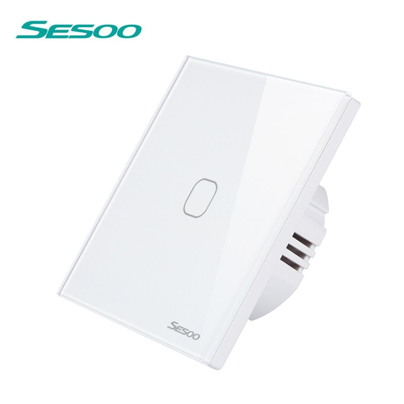 SESOO Remote Control Switch 1 Gang 1 Way Touch Wall Light Switch tempered glass panel (Remote Control Purchased Separately)