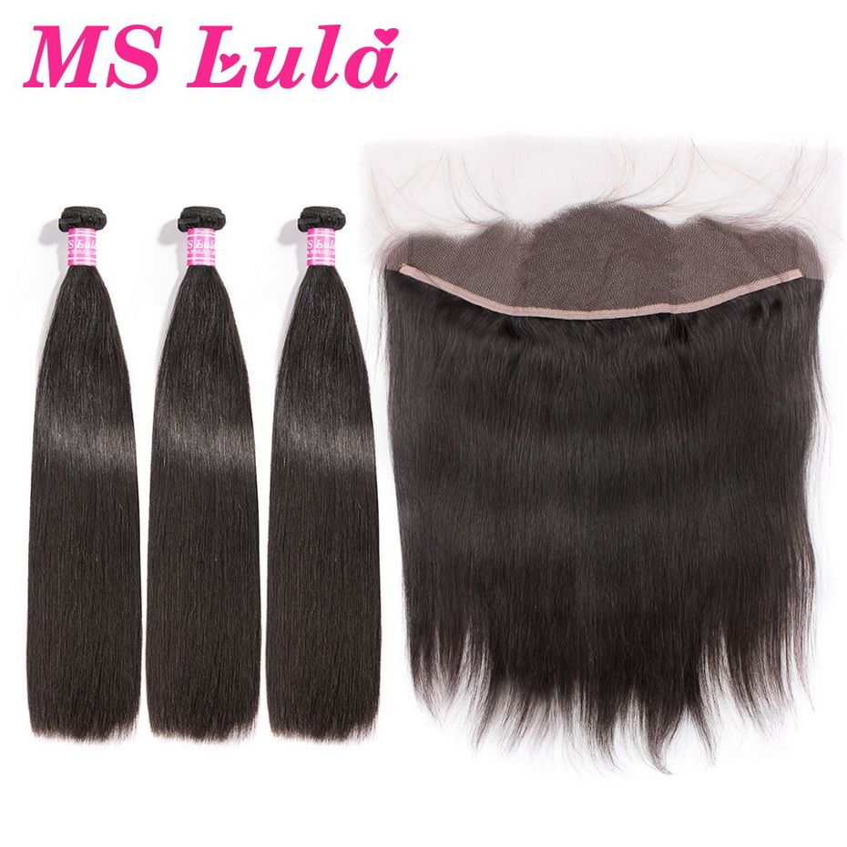MS Lula Brazilian Straight 3 Bundles With Lace Frontal Closure 13x4 Human Hair Bundles Swiss Lace Frontal Remy Hair Free Ship