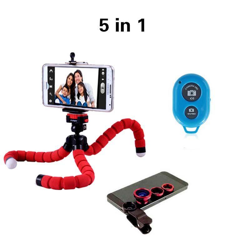 Universelle 5in1 Caméra Kit Fisheye Objectif Grand Angle Lentille Macro 3in1 lentille avec Trépied Bluetooth obturation pour iPhone 7 pour Samsung S7