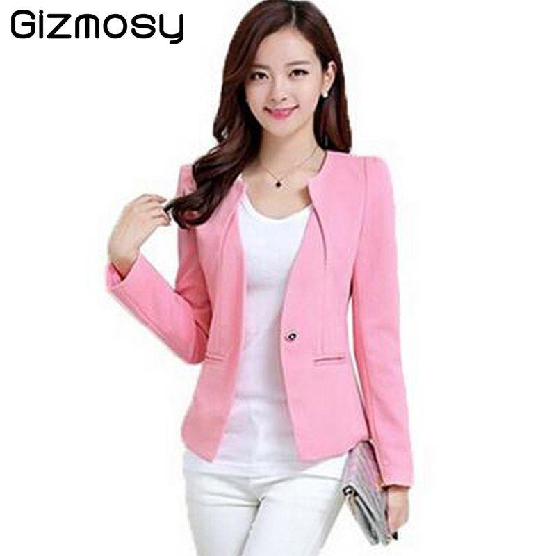 Gizmosy Spring Women Slim Blazer Coat 2017 Plus Size Casual Jacket Long Sleeve One Button Suit Lady Blazers Work Wear BN026