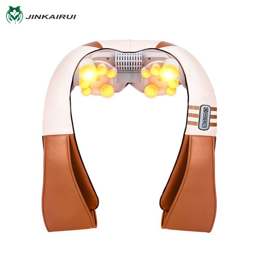 JinKaiRui U Shape Electrical Shiatsu Kneading Back Neck Shoulder Foot Body Massager <font><b>Infrared</b></font> Heated Car/Home Massagem Better Sle