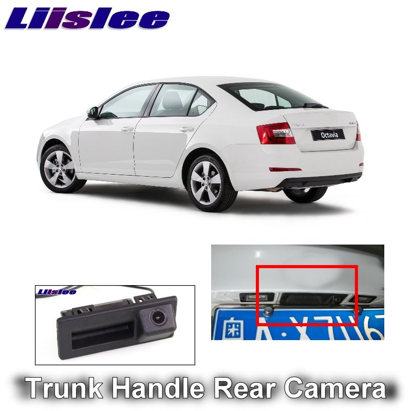 For SKODA Octavia MK3 A7 5E 2016 2017 2018 LiisLee Car Rear View Parking Camera Instead of Original Factory Trunk Handle Camera