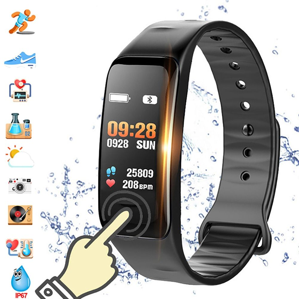 Color Screen C1S Smart Bracelet Waterproof Heart Rate Monitor Health Fitness Tracker Bluetooth Smart Watch for Sport PK MI Band4