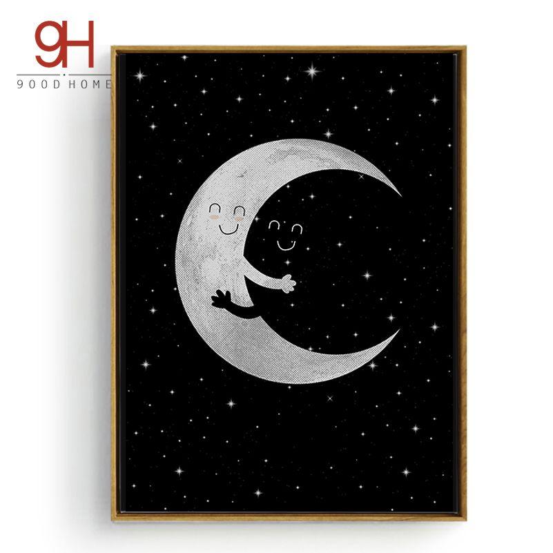 Luna de la historieta Abrazo Canvas Art Print Poster, Imágenes de pared para la Decoración Del Hogar, Pared de La Sala infantil Decoración CM016-2