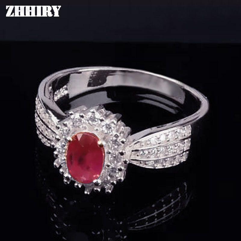 ZHHIRY véritable bague rubis naturel véritable 925 argent Sterling précieux rouge pierre gemme anneaux pour femme bijoux fins Noble Royal