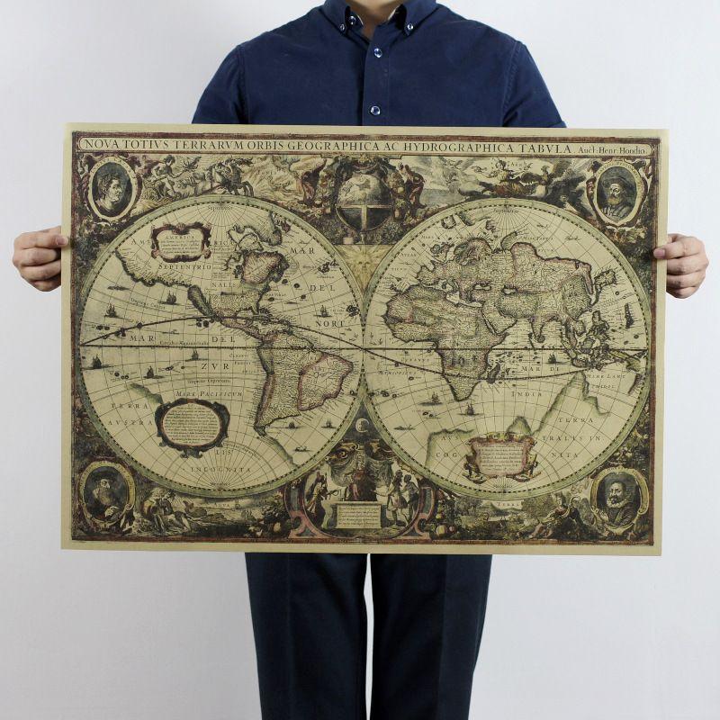 Retro Weltkarte Nautischen Meer karten vintage Kraftpapier Poster Wandkarte Aufkleber Antiken wohnkultur Map World 70x51 cm