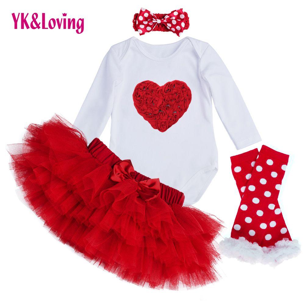 Ensembles de Vêtements de bébé À Manches Longues Barboteuse Tutu Saia Jupe Ensemble Enfants Bébé Mode Filles Princesse Ensemble De Vêtements Valentines