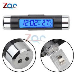 2 in 1 Digital LCD Display Screen Thermometer Car Time Clock Car Styling Blue Backlight Auto Accessories Air Vent Outlet