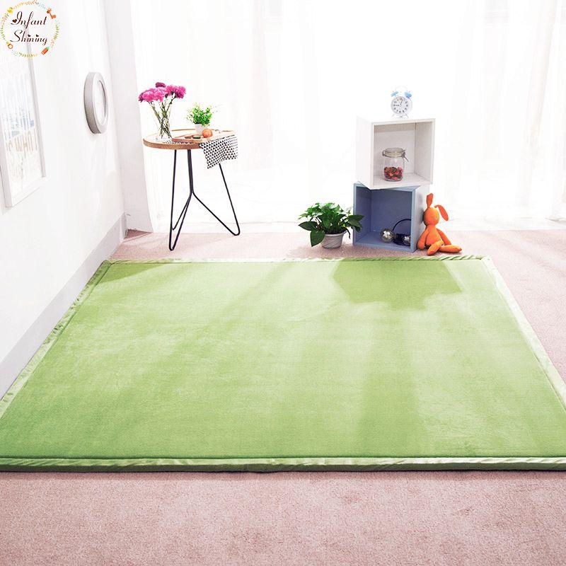 Tapis de zone de tapis d'ouatine de corail brillant infantile pour le salon tapis de sol de chambre à coucher de chambre d'enfants 180*200 épais 2CM tapis de Tatami doux