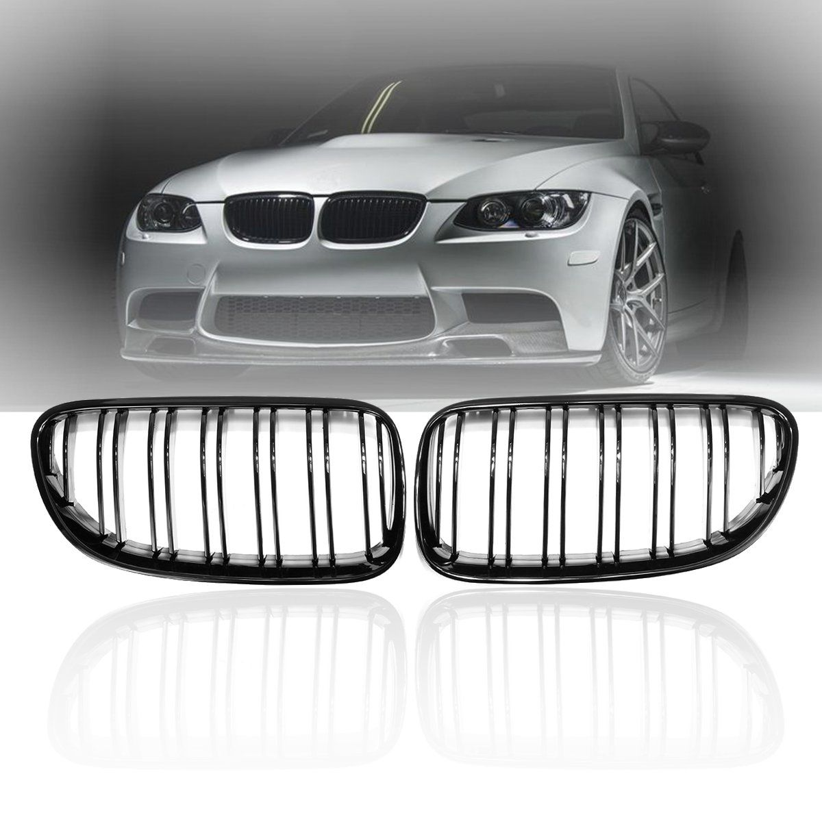 Pair Gloss Matt Black M Color Front Kidney Grill Grille Dual Line Slat For BMW E92 E93 328i 335i 2010 2011 2012 2013 2014