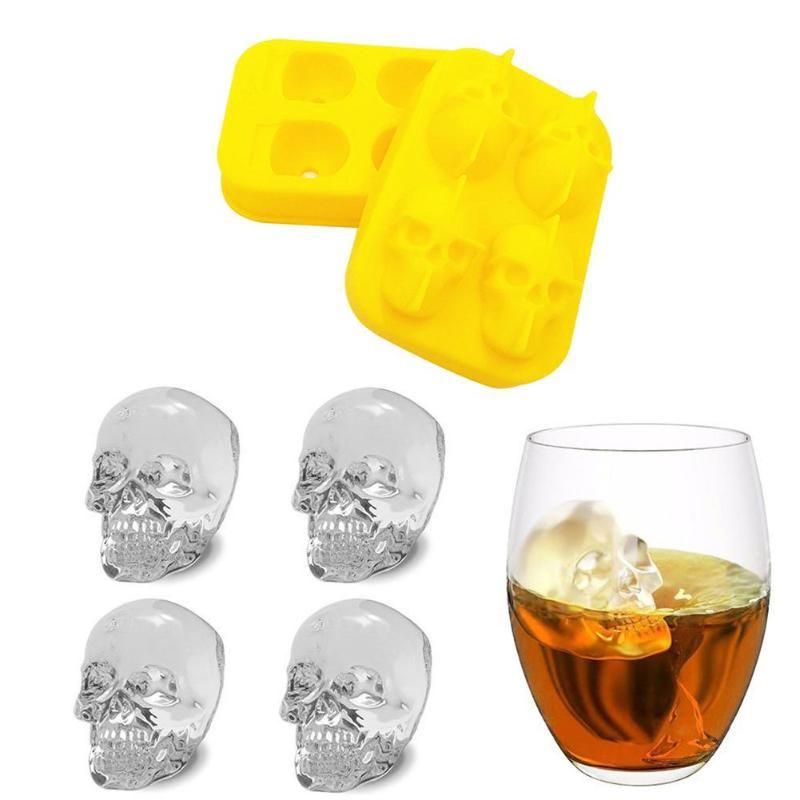 3D Eismaschine Form Skeleton Schädel Bär Form Silikon Ice Tray für Wein Cocktail Kühlung Bar Trinken Zubehör