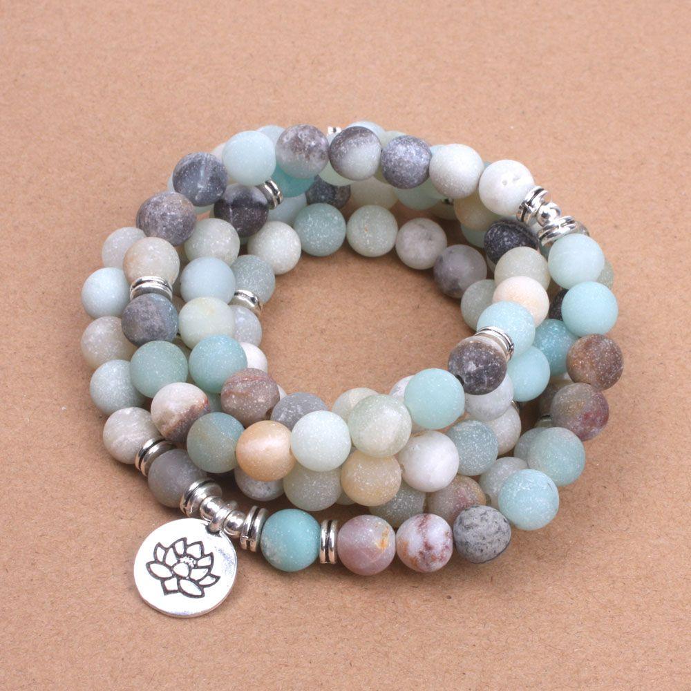 Mode femme bracelet Mat Givré perles D'amazonite avec Lotus OM Bouddha Charme Yoga Bracelet 108 mala collier dropshipping
