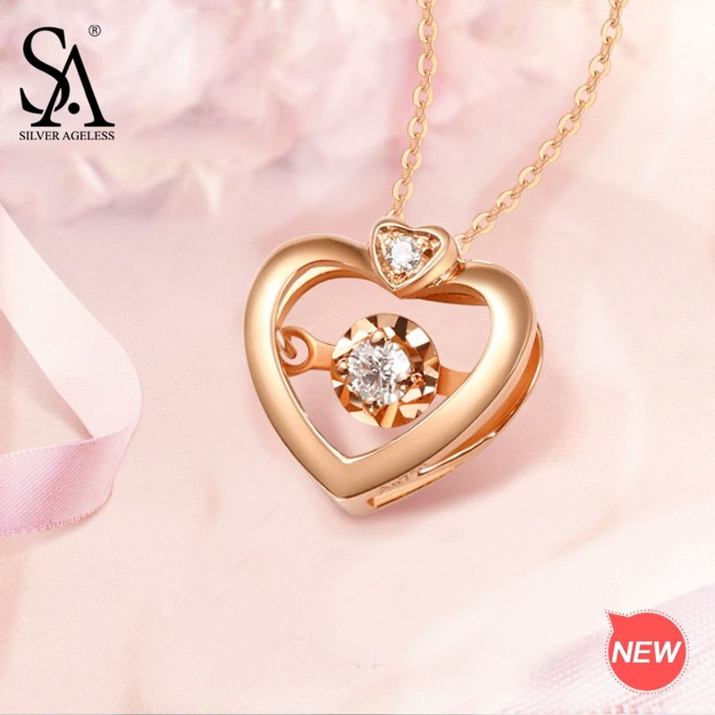 SILVER AGELESS 18K Rose Gold Heart Pendant Necklaces for Woman Diamond Pendant Chain Link Necklaces Real Gold Jewelry