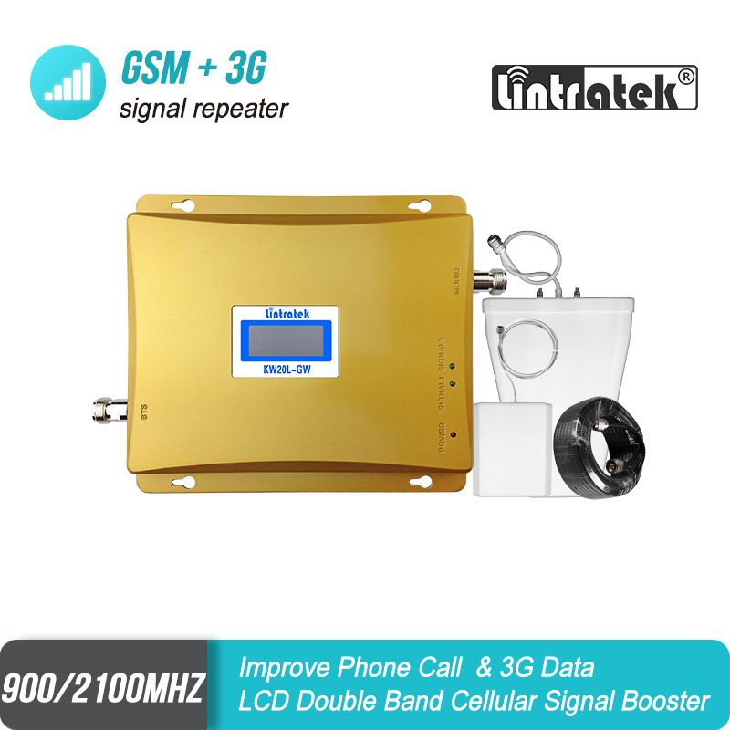LCD Display GSM 900mhz 3G WCDMA 2100mhz Dual Band Mobile Signal Repeater 65dB GSM 900 3G UMTS 2100 Cell Phone Booster Amplifier