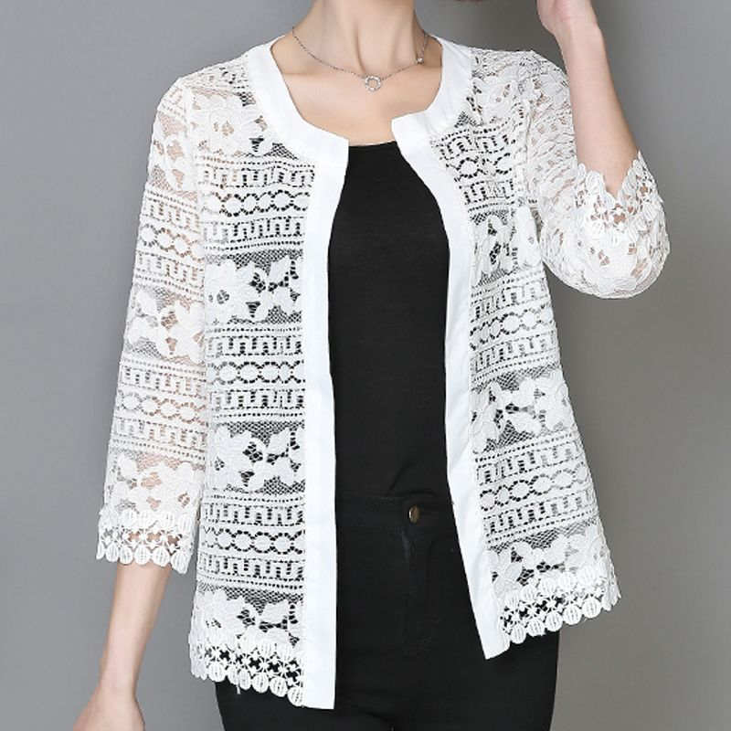 2017 Plus Size Women Clothing 5XL 4XL XXXL Ladies White Lace Blouse Summer Cardigan Coat Black Crochet Sexy Female Blouse Shirt