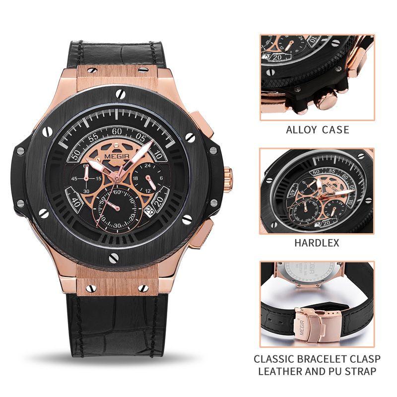 Relogio Masculino 2016 Megir Chronograph Watch Men Famous Brand Watches Army Sport Male Men Wrist Watch For Man Erkek Kol Saati