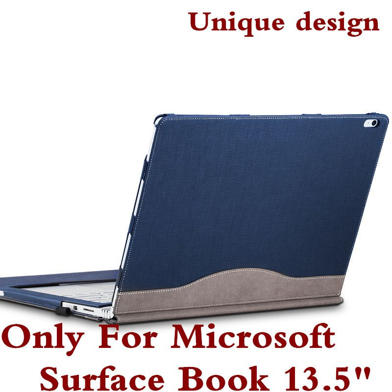Couvercle amovible pour microsoft surface livre 13.5 ''tablet laptop sleeve case pu en cuir de protection couverture de peau de clavier comme cadeau