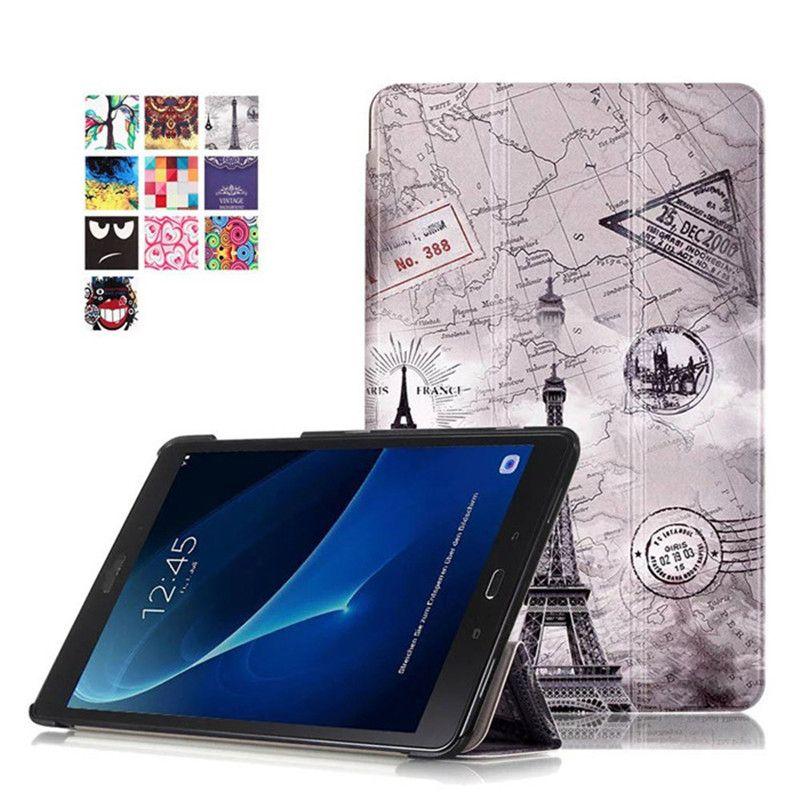 Pour Samsung Galaxy Tab A 10.1 2016 T580 T585 T580N T585N support de luxe Folio Flip PU cuir peau magnétique intelligent housse de sommeil