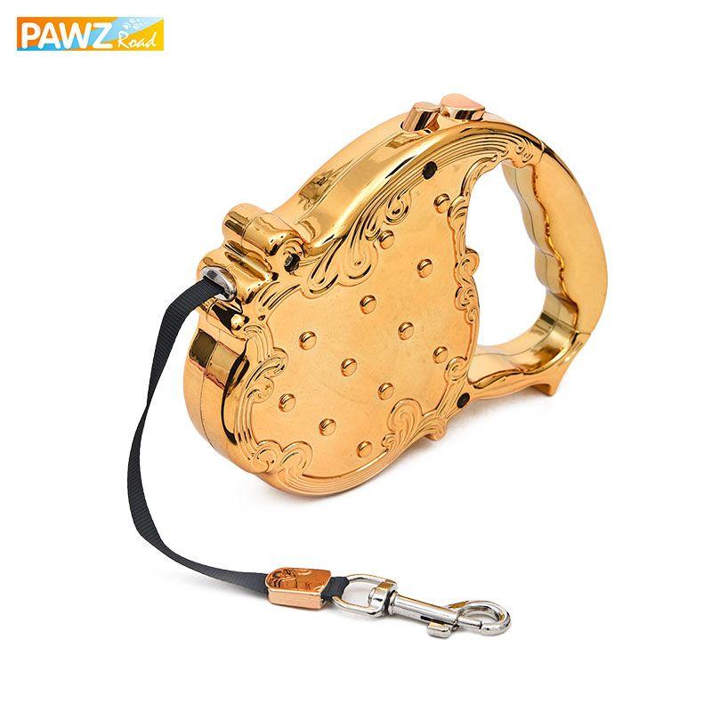 Perro Correas PET auto leash retractable Puppy CAT diseño de lujo 3 m largo tracción cuerda cadena calidad superior 20 kg oro/plata colores