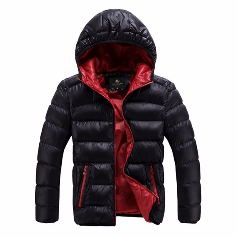Fashion Winter Jackets Mens Coat Plus Size Hooded Windproof Warm Contrast Color Lining Padded Down Jacket Casacos Masculino