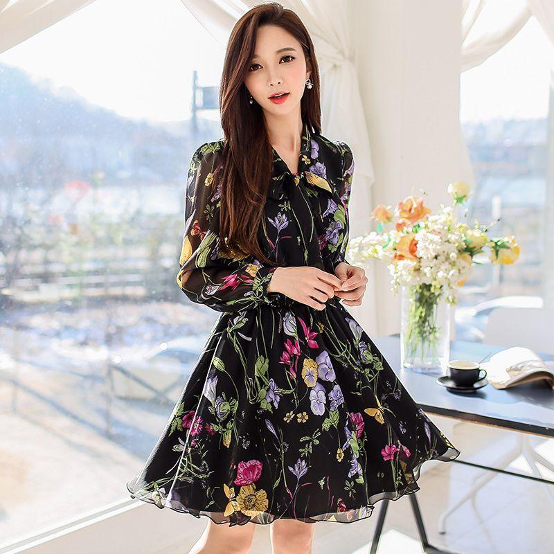 Dabuwawa Floral printing Women Dresses Multicolor Elegant Long Sleeve High Waist A Line Dress Ladies Tie Neck Dress 2018