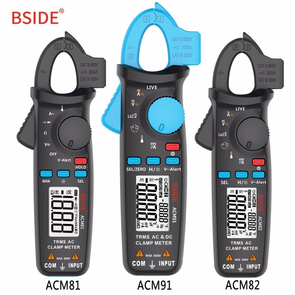 BSIDE True RMS Digital Clamp Meters 1mA Resolution DC/AC Current Voltage Tester Auto Range Handheld Multimeter Electrician Tool