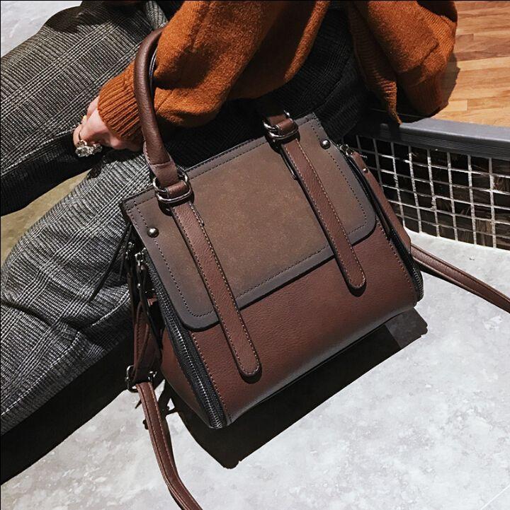 Cuero de la PU de las mujeres del bolso de la vendimia breve bolso de la manera de las mujeres bolsa de mensajero ocasional hombro xiaokes8