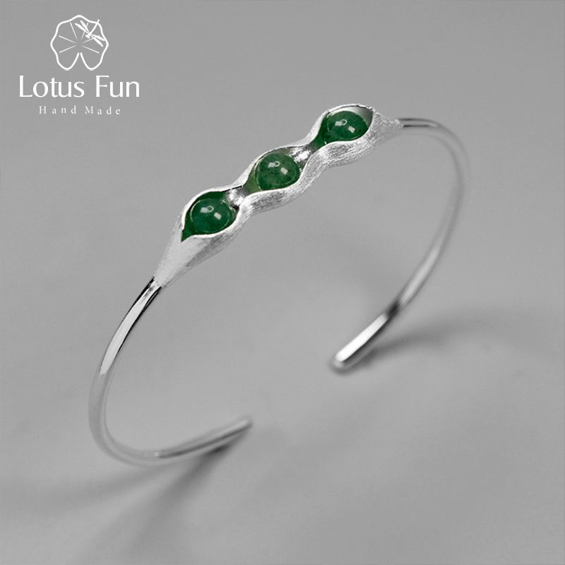 Lotus Fun Real 925 Sterling Silver Handmade Jewelry Natural Green Stones Creative Pea Pods Design Bangles for Women