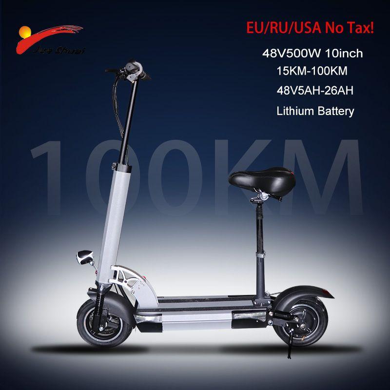 48V500W Elektrische Roller 10 zoll Motor Rad 26AH Lithium-Batterie Erwachsene kick e roller Keine steuer folding patinete electrico adulto