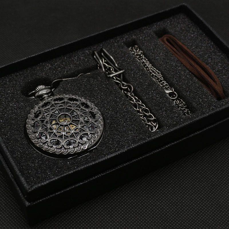 Bronze Mechanischer Handwind Taschenuhr Geschenk Gute Qualität mit Geschenk bag Lederband Geschenk box und Halskette Kette P825WBWB