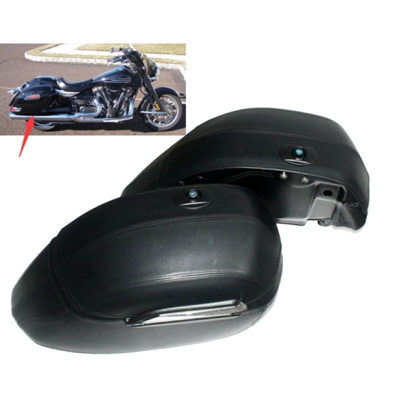 Motorcycle Black Universal Hard Bag Saddlebags For Honda Suzuki Kawasaki Harley Yamaha Victory