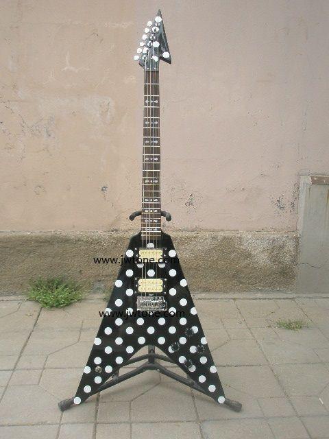 Randy Rhoads Guitar Harpoon Polka Dot Flying V standard electric Guitar Replica Collectible
