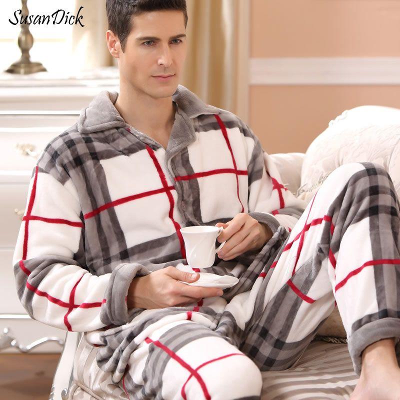 SusanDick 2017 Nouveau Hiver Pyjamas Hommes Épais Polaire Pyjama Ensembles De Luxe Chaud de Nuit Plaid Costumes Homme Casual Accueil Vêtements Pijama