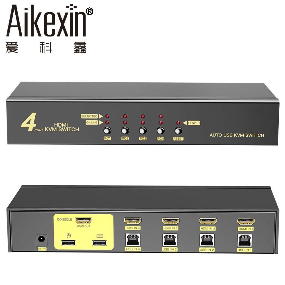 Aikexin USB2.0 KVM Switch 4 Port USB HDMI KVM Switch 4x1 HDMI Switch Extra USB2.0 Support Auto Scan,Keyboard Mouse Hotkey Switch