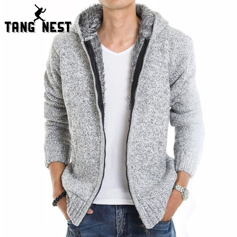 TANGNEST 2018 Fur Inside Thick Autumn & Winter Warm Jackets Hoodies Hodded Men's Casual 5 Color Thick Hot Sale Sweatshirt 179
