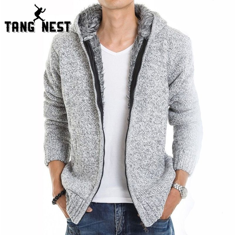 TANGNEST 2018 Fur Inside Thick Autumn & Winter <font><b>Warm</b></font> Jackets Hoodies Hodded Men's Casual 5 Color Thick Hot Sale Sweatshirt 179