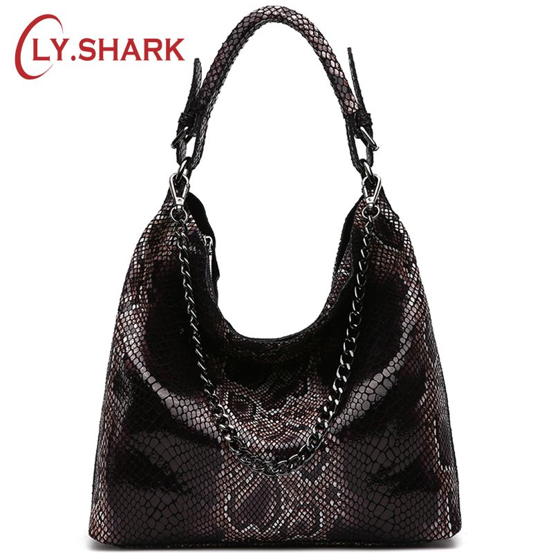 LY.SHARK Famous Brand Serpentine Pattern Genuine Leather Handbags Women Bag Female Crossbody Shoulder Messenger Bag Tote Hobos