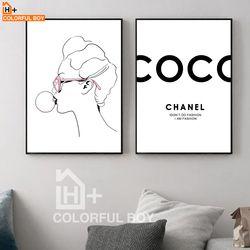 COLORFULBOY Coco Fille Nordic Affiches Et Gravures Noir Blanc Mur Art Toile Peinture Pop Art Mur Photos Pour Le Salon décor