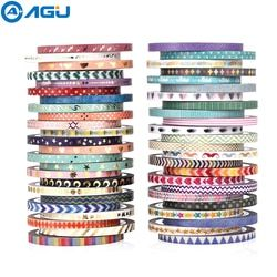 Aagu 48 Pcs/lot 3 Mm * 5 M Kurus Washi Tape Set Scrapbooking Album Dekoratif Tape Alat Kantor DIY Dekorasi kertas Slim Tape