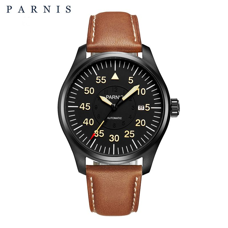 New 44mm Parnis Watch Men Automatic Mechanical Wrist Watch Stainless Steel Case Black Dial Luminous Number Military Men Watch