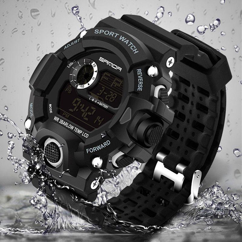Nouveau mode hommes sport montre LED électronique montre numérique 30Bar plongée Wwim extérieur militaire montre Relogio Masculino
