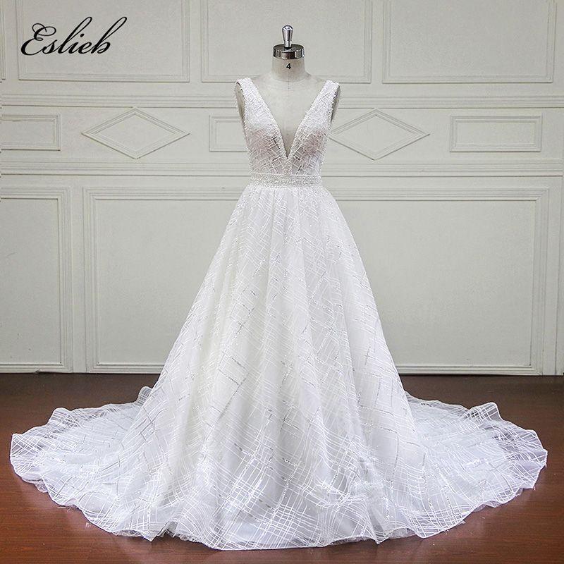 Increíble cuello en V vestido de novia 2018 backless perlas rebordear cristal espumoso vestido nupcial Fajas a custom line vestido